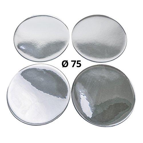 4 x silicone autocollants/Emblèmes pour capuchons Moyeu – Motif : Chrome – Diamètre : 75 mm