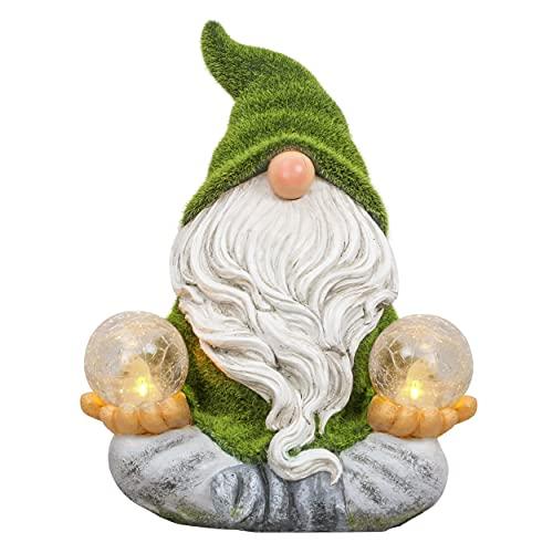 TERESA'S COLLECTIONS Statue da Giardino Gnomo da Giardino Figura Resistente alle Intemperie 27 cm Nano Yoga Figure da Giardino Floccate in Resina Gnomi da Giardino Decorazione da Giardino