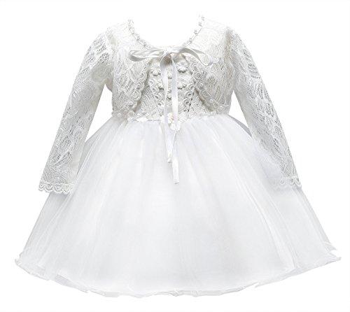 Happy Cherry Robe de Cérémonie Bébé Fille Tulle Robe de Princesse Manches Longues pour Anniversaire Soirée Baptême Mariage Blanc 3-6mois