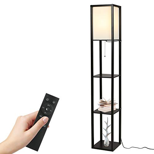 Tomshine Lámpara de pie de madera con Control Remoto con Estantes Decorativos, Atenuador Dimmer Continuo 3 Temperaturas de Color para Dormitorio, Salón, Hotel(Bombilla Incluida) (Negro)