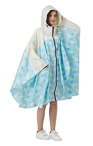 Women Rain Poncho Stylish Polyester Waterproof Raincoat Free Size with Hood Zipper Styles (Blue Geometry White)