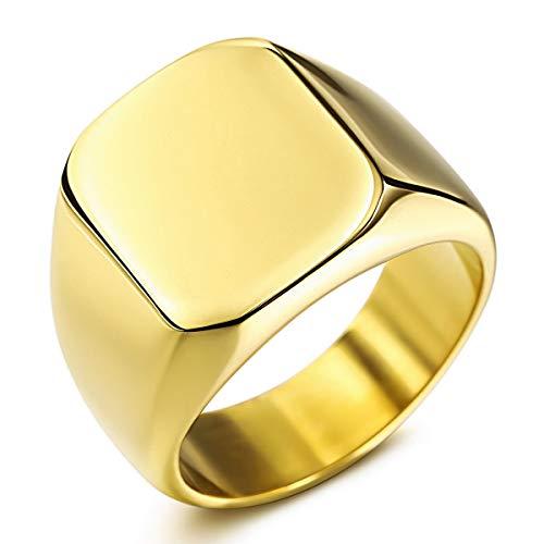MunkiMix Acciaio Inossidabile Personalizzato Incisa Iniziale Monogramma Marcatore Squillare for Uomo Donne Ragazzi Uomini Anelli, in Bundle con Squillare Taglia Aggiustatori (Gold Colori, Taglia 17)