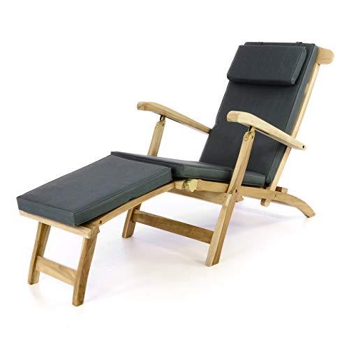 Divero Liege-Stuhl Deckchair Florentine Steamer Chair mit Auflage Natur anthrazit