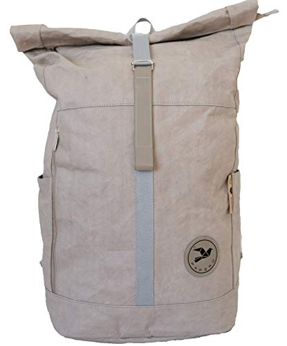 Papero ® Rucksack aus Kraft- Papier | Ultra minimalistisch Herren Damen, Robust, Wasserfest Vegan nachhaltig Urban Style FSC Zertifiziert | Kurier Taschen, Rolltop, Laptopfach für Uni (Grau)