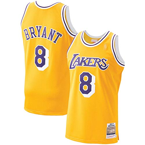 THDB Camiseta de baloncesto personalizada Kobe Lakers #8 Oro, Los Angeles Bryant 1996-97 Hardwood Classics Player Jersey transpirable sin mangas Chalecos uniforme para hombres