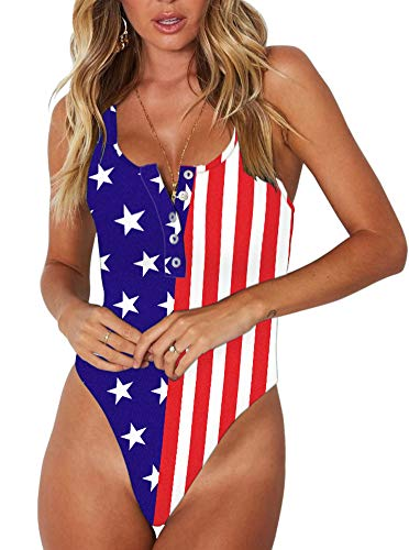 Women's Sexy Scoop Neck Racerback Tank Top Button Down Stretchy America Flag Printed Leotard Bodysuits 2X-Large
