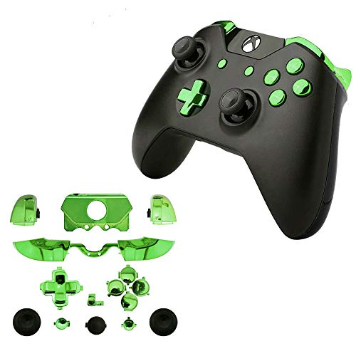 for Xbox One Elite Replacement Full Buttons Bumper Triggers T6 T8 Screwfor Xbox One Controller with 3.5mm Jack (Chrome Green)