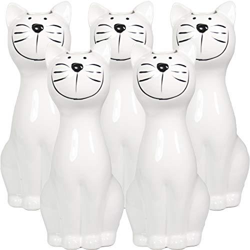 My-goodbuy24 5-teiliges Set Luftbefeuchter - Katze - für Heizung aus hochwertigem Dolomit Luftreiniger Wasserverdunster Verdamper verdunster Klima in weiß