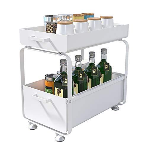 Plasaig - Under Sink Cabinet Organizador de 2 pisos, multifuncional, para cocina, con cajón deslizante, estantes de baño inoxidables, color blanco