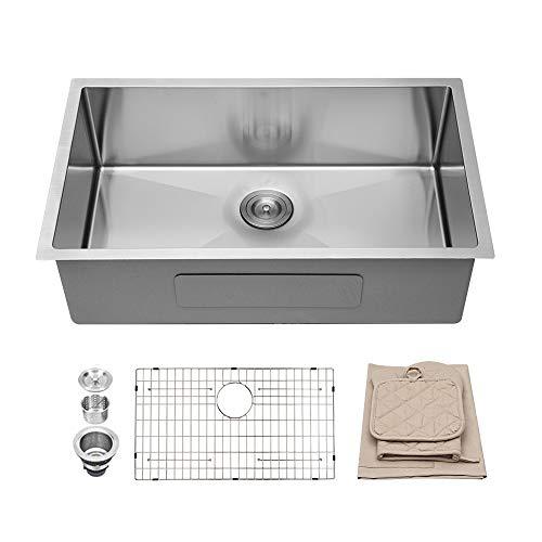 Lordear 32 Inch Undermount Kitchen Sink 16 Gauge Deep Single Bowl R10 Tight Radius Stainless Steel Kitchen Sink (30 X 20 Stainless Steel Kitchen Sink)