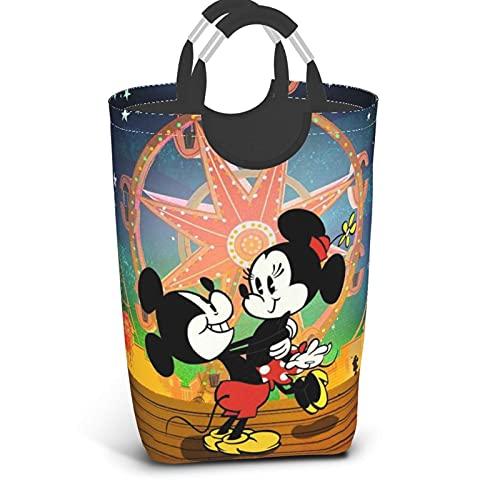 Cesta de lavandería con ruedas de Mickey Minnie Mouse de dibujos animados para cuarto de baño, cesta de almacenamiento de ropa portátil con asa grande y plegable