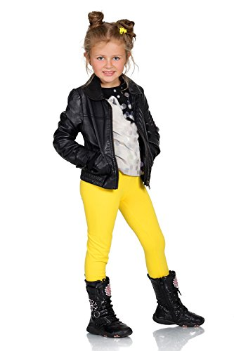 FUTURO FASHION® - Leggings para niñas - Cálidos y Gruesos - Algodón - Amarillo - Talla 6 años
