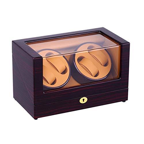 LQH Caja de Winder de Reloj automático, 4 Posiciones de Winder Spaces Spaces Wood Shell Point Pintura Black Brillo 4 Modos