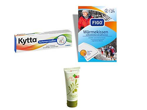 Sparset Schmerz - Kytta Schmerzsalbe 50g & 10er Pack Figo Wärmekissen 12 Stunden Inkl. GRATIS Rats-Apotheke Olivenöl Pflegecreme