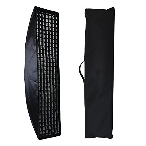 "Fomito Bowens Grid Strip Softbox - 35x160cm / 14"" X 63"" with Beehive Honeycomb Grid Strip, Double Inner Soft Cloth and Carry Bag, 6500k Color Temperature for Portraits Photography"