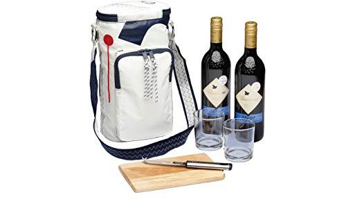 Navyline Sea Princess Wijnkoeltas voor 2 flessen met 2 onbreekbare glazen, mes, wit marineblauw zeildoek