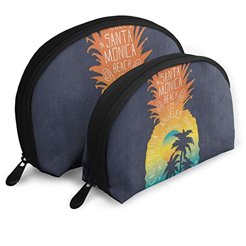 Trousse À Maquillage Surf Ananas Fruit Tropical Palm Tree Portable Shell Organisateur De Toilette pour Les Femmes Voyage Pack - 2