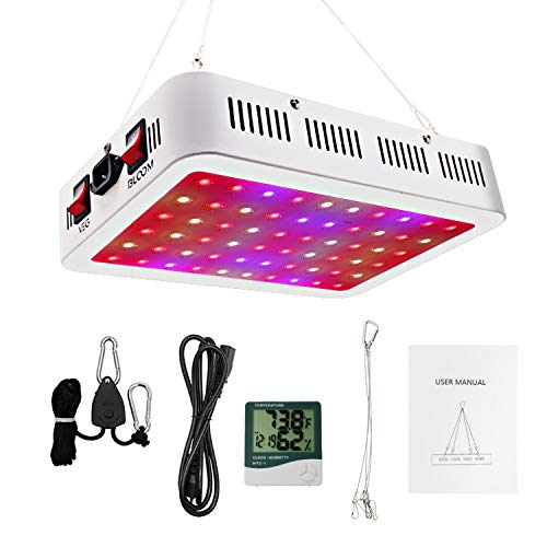 600W LED Grow Light Full Spectrum Plant Growing Lights for Indoor Plants with Thermometer Humidity Monitor