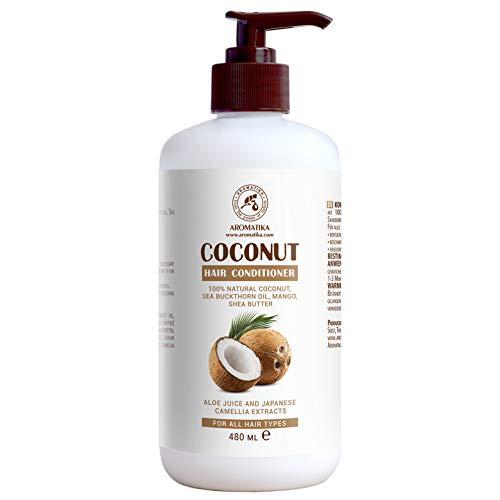 Kokos conditioner 480ml - 100% natuurlijke kokosolie - - haarspoeling - haarverzorging - beautysalon - wellness - persoonlijke verzorging - voor alle haartypen - vrij van kleurstoffen - sulfaatvrije