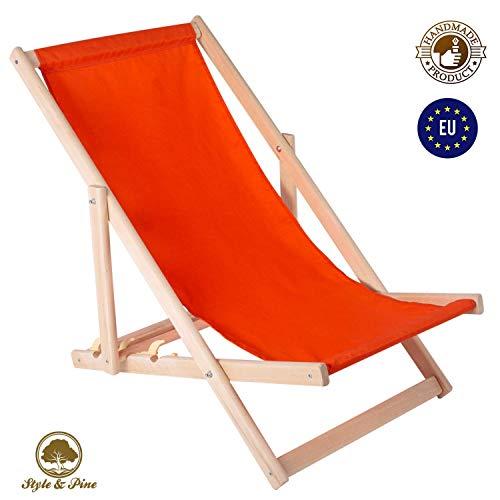 Amazinggirl Liegestuhl klappbar Strandstuhl Holz Klappliegestuhl - holzliegestuhl Relaxliege Gartenliege Strandliege Liege für Garten Balkon ORANGE