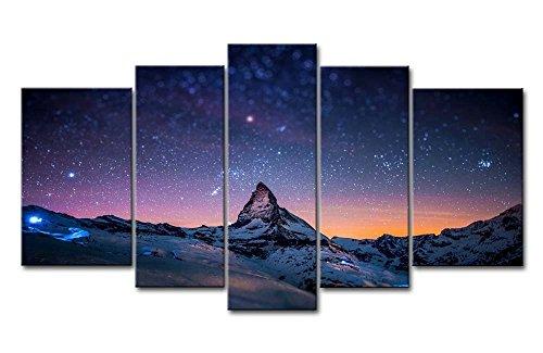5-teiliger Kunstdruck auf Leinwand, frisches Aussehen, Wandbild, Sternen-Nachthimmel über über den Bergen, Öl-Landschaftsbilder für zuhause, moderne Dekoration für Wohnzimmer