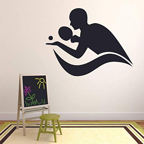 Play Table Tennis Wall Decal Sports Table Tennis Silhouette Doors and Windows Vinyl Stickers Teen Bedroom Gym Gym Interior Decoration Gift 42X53Cm