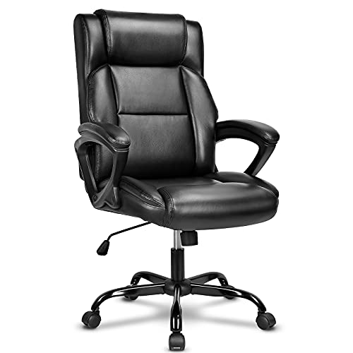 BASETBL Executive Office Chair, High Back Ergonomic Chairs with Padded Cushion, Heavy Duty PU Leather Chairs with Height Adjustable and Soft Armrest, Reinforced Comfortable Desk Chair for Office Home