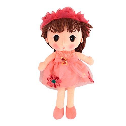 ABBY Enfant Poupées de Chiffon Poupée Princesse Mignonne en Peluche Bébé Doudou Poupon Cadeau Journée des Enfants Anniversaire Saint-Valentin Mariage Couleur Rose Taille: 33CM