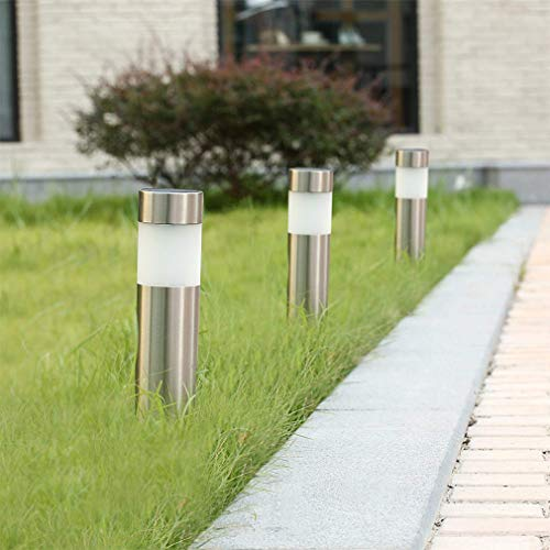 Solar Bollard Lights Outdoor - 6 Pack Stainless Steel Warm White LED Landscape Lights Waterproof Decorative Lighting for Backyard Lawn Patio (Silver)