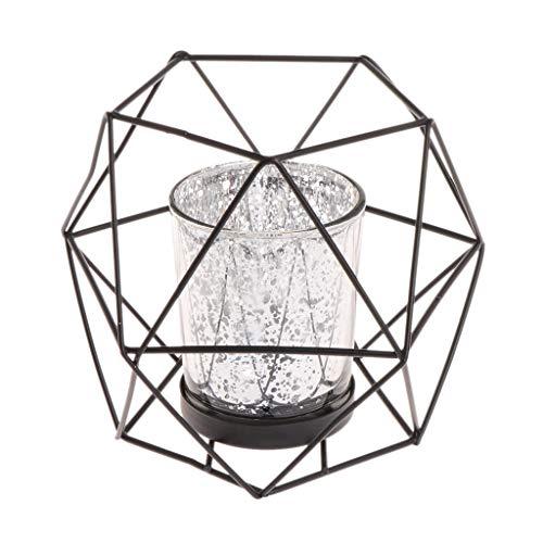 Brucelin - Candelabro geométrico 3D de estilo nórdico, portavelas de metal, decoración de boda negro