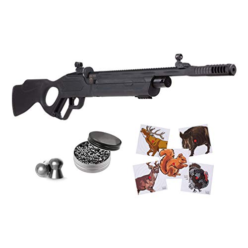 Hatsan Vectis Air Rifle with Pack of Pellets and 100x Paper Targets Bundle (Black Syn Stock) (.177 Cal + Ammo)
