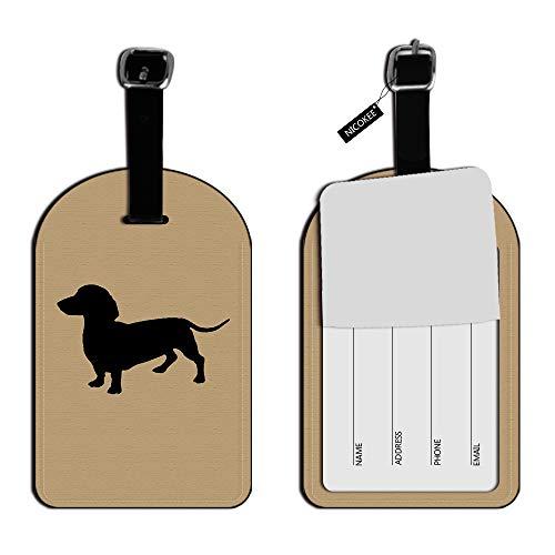 Nicokee Dachshund Wiener Etiquetas de identificación para Equipaje de Perro, Tarjetas de Equipaje de Mano, Etiquetas de Cuero para Equipaje, Accesorios de Viaje