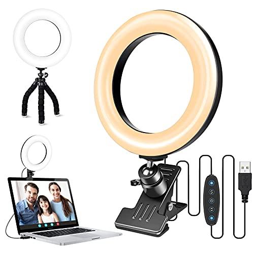 ACMEZING Videokonferenz-Beleuchtungsset, 6,3'' LED Ringlicht mit Stativ, 360°Ringleuchte Laptop-Licht 5 Farbe + 6 Helligkeitsstufen für Videokonferenzen, Video Calls, Live-Stream, Selfie,Volg,TikTok