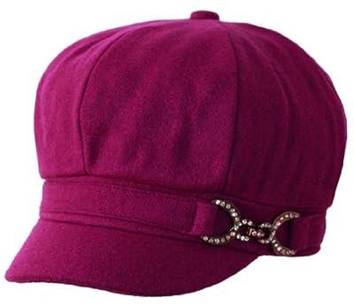 Sakkas 305BC Jessica Wool Newsboy Cabbie Hat with Rhinestone Buckle - Berry/One Size