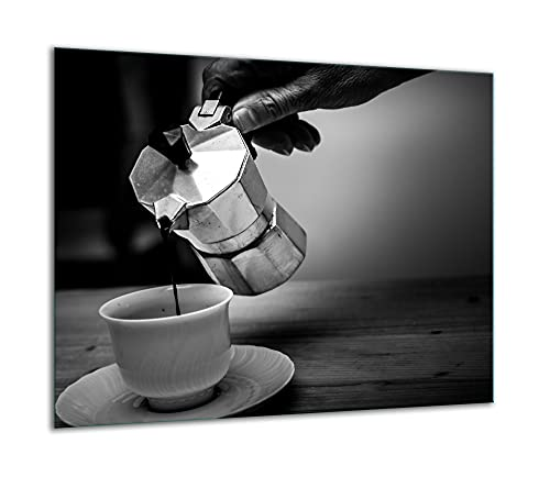 TMK | Placa de cristal para cubrir la cocina de 60 x 52 cm, una sola pieza, protección contra salpicaduras, placa de cristal, decorativa, tabla de cortar, gris y café