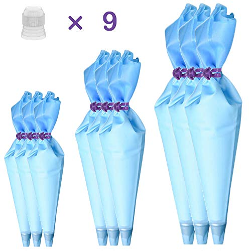 Qozary Reusable Decorating Bags, 9 Pack Silicone Piping Icing Bags, 27 Pieces Cake Decorating Tools with 9 Pastry Bags, 9 Standard Couplers and 9 Ties, Baking Supplies Kit for Cake, Cupcake, Cookies