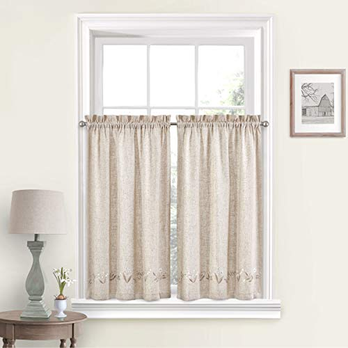Vue Lily of The Valley Small Panel Tiers Privacy Window Treatment Pair Bathroom, Living Room, 60
