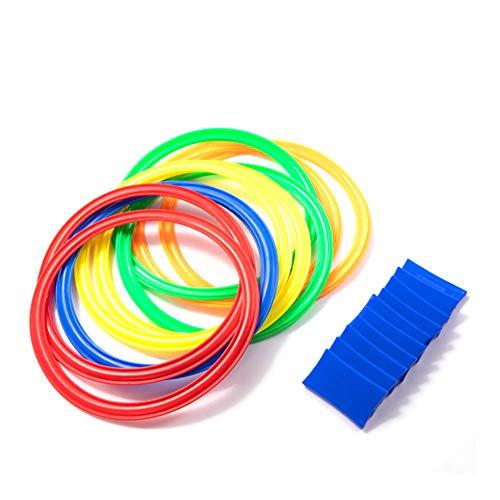 NiceButy Hopscotch Ring-Spiel Spielt 10 Mehrfarbige Plastikringe Und 9 Steckverbinder Für Die Außen- Oder Innen-spaß