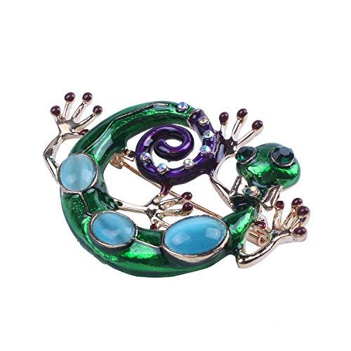TOOGOO Esmalte Lagarto broches para Mujer Moda Verde Rhinestone Broche alfiler Gecko joyeria Animal