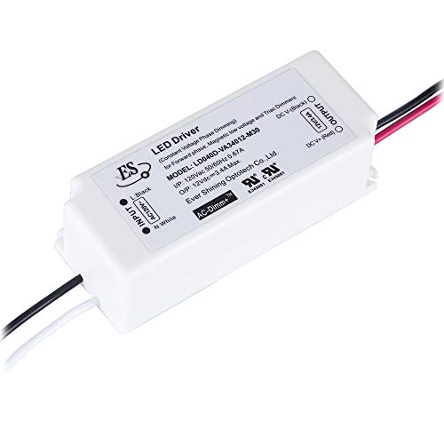 12V Dimmable LED Driver 40 Watt Triac Dimming 12 Volt LED Power Supply IP67 Waterproof LED Adapter 3.4A, Constant Voltage 40W Power Converter Triac Dimming,120V to 12V LED Transformer Dimming