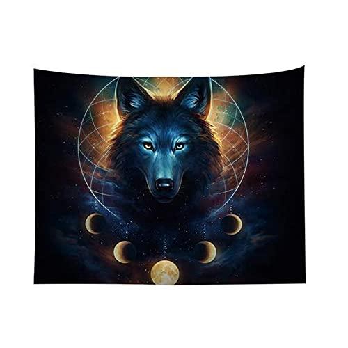 litulituhallo Tapiz para colgar en la pared, diseño de lobo y león hippie