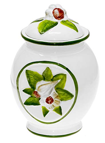 Lashuma Handgemachter Knoblauchtopf aus Italienischer Keramik in Grünen Knoblauchdesign, Vorratsdose 16 cm