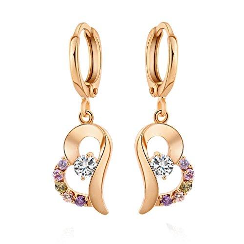YAZILIND 18K elegantes Vergoldet plattiert Zirkonia Band Ohrringe Herz Multicolor Tropfen baumeln Ohrringe für Frauen