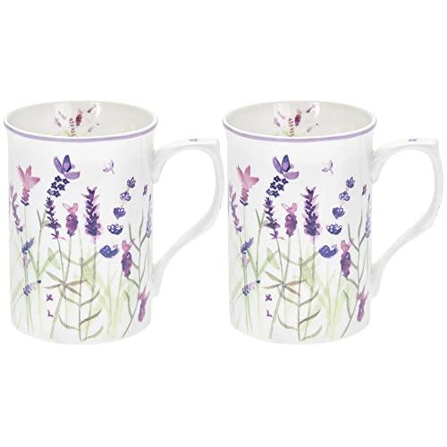 Lot de 2 tasses violettes lavandes dans une boîte cadeau