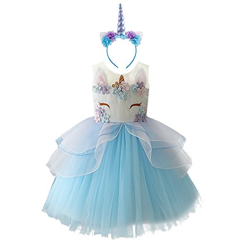 IBTOM CASTLE Vestido de Tutu Princesa Unicornio Arco Iris Fiesta de cumpleaños Disfraz Bautizo...