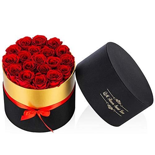 Nuptio Rosas Rojas Preservadas Infinity Rose Flower, 19 Piezas Flores Reales para Siempre Rosa Regalos Románticos para la Novia, Boda Cumpleaños Aniversario Navidad