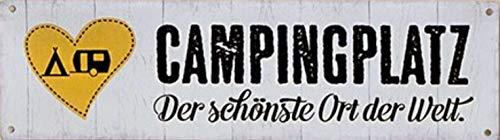 G.H. Vintage Retro Metallschild, Modell: Campingplatz, Maße 30 x 9 cm, weiß, ideal für Camper, Zelter, Caravaner, Wohnmobilisten, oder einfach Zuhause.