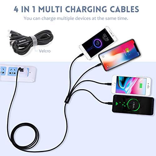 6FT Multi USB Kabel 2Pack, Bolatus 4 in 1 Ladekabel Nylon Universal Mehrfach Handy Ladegerät Kabel Micro USB Typ C Kompatibel für alle Smartphone, Tablets und mehr - 1.8m Schwarz