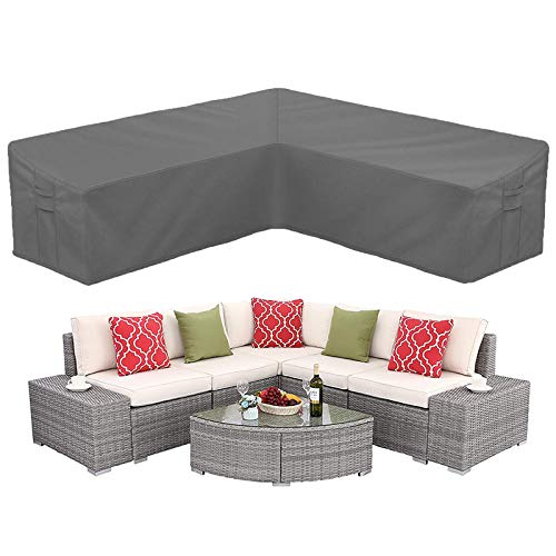 STARTWO Outdoor V Shaped Sectional Sofa Cover,Heavy Duty Waterproof Patio Sectional Furniture Set Covers Premium Durable Fabric Garden Couch Protector Designed with Windproof Straps Air Vent(Gray)