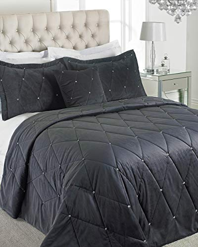 "Riva Home Paoletti New Diamante Bedspread Set - Zinngrau - Diamante Kristall Pailletten - Gesteppte Geometric Design - 2 X Kissen Shams Inklusive - 100% Polyester - 220 X 240 cm (87"" X 94"" Zoll)"